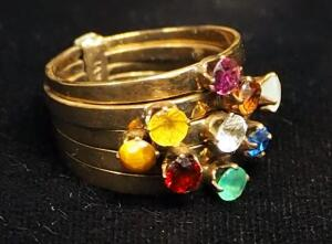 14K Gold Multi-Band Ring With Multiple Colored Stones, Size 6, Approx 4.9 g Total Weight