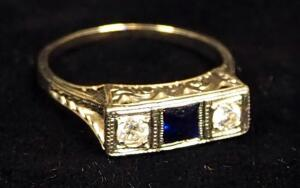 14K PLAT Gold Ring With Clear And Blue Stones, Size 5-1/2, Approx 2.6 g Total Weight