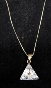"14KT Italy Necklace With Clear Stone Pendant, Approx 19"" Long, Approx 6.4 g Total Weight"