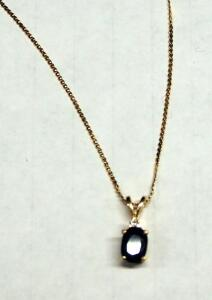 "14K Gold Necklace With 14K Blue And Clear Stoned Pendant, Approx 16"" Long, Approx 2.3 gm Total Weight"