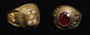 10K Gold Rings, Qty 2, Sizes 9-3/4 And 11-3/4, Approx 28 g Combined Weight, 1 Is A Class Ring, Other Is A 25 Year Work Ring