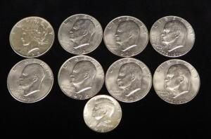 Coin Collection, Includes 1925 Peace Dollar, Eisenhower Dollars (Qty 7, Range 1971-1976), And 1966 Kennedy Half Dollar