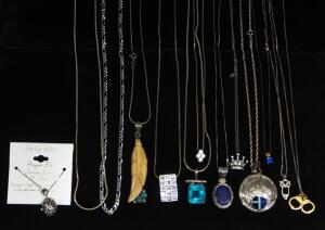 Sterling Silver Necklaces, Many With Pendants, Various Lengths, Qty 13, Approx 136 g Combined Total Weight