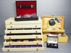 Costume Jewelry Assortment, Includes Earrings, Pins, Necklaces, Bracelets, And More, Contents Of 4 Jewelry Boxes