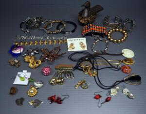 Costume Jewelry Assortment, Includes Rings, Necklaces, Bracelets, Earrings, Pins And More, Contents Of Box