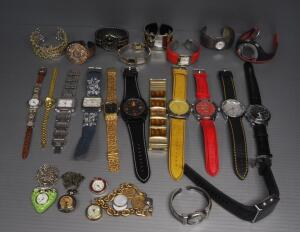 Watch Assortment, Includes Wristwatches And Necklace Watches, Brands Include Sharp, Seiko, Terner, Hampton And More, Qty 25