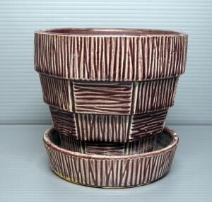 "McCoy Pottery Basket Weave Planter, 6"" High"