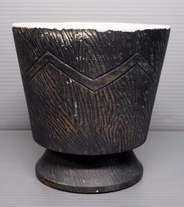 "McCoy Pottery M6 Planter With Chevron And Bark Design, 6.5"" High"