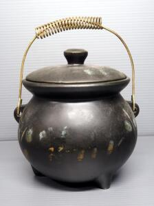 "McCoy Pottery Cauldron With Wire Bail, 8"" High (Measured With Lid, Not Bail)"