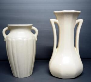 "Nelson McCoy And McCoy Pottery Double Handled Vases, Qty 2, 7.5"" And 9.5"" High"