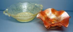 "Northwood Marigold Carnival Glass Footed Candy Dish, 10.5"" Dia, And Depression Glass Serving Bowl, 8"" Dia."