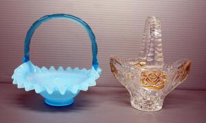"Fenton Glass Handled Basket With Ripple Glass Edges And Clear Glass Basket With Gold Toned Rose, Both Approx 7"" H"