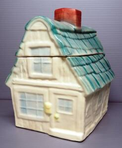 "Brush-McCoy Pottery House Cookie Jar No. W31, 10.5"" High"