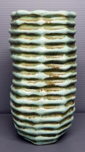 "Ribbed Ceramic Vase, Unmarked, 10"" High"