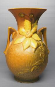 "Roseville Clematis Pattern No. 109-9"" Double Handled Vase, 9.5"" High"