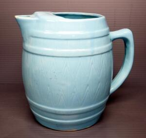"Ceramic Barrel Design Pitcher With Ice Guard, 7.5"" High"