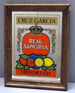 "Cruz Garcia Real Sangria Bar Mirror, 13.5"" Wide x 17.5"" High"