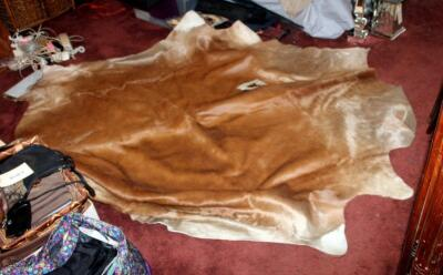 Authentic Tanned Cow Hide Rug, Approx. 40 Square Feet, New, With Tag