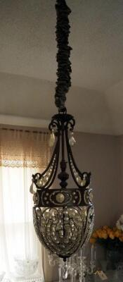 "Metal Tear Drop 3 Light Chandelier With Charm Accents, 30"", Bidder Responsible For Removal, Hardwired"