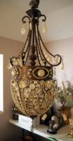 "Metal Tear Drop 3 Light Chandelier With Charm Accents, 30"", Bidder Responsible For Removal, Hardwired - 5"