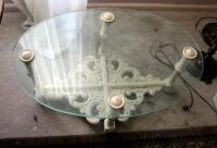 "Oval Glass Top Table, 15.5"" x 34"" x 23"" - 3"