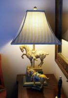 "Asian Inspired Terr-A-Cotta Horse Lamp With Cloth Shade, 28"" Tall And Ceramic Horse Figure"