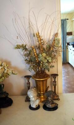 Matching Candles Stick Holders, Floral Arrangement In Cast Urn, And Bust