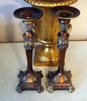 Matching Candles Stick Holders, Floral Arrangement In Cast Urn, And Bust - 3