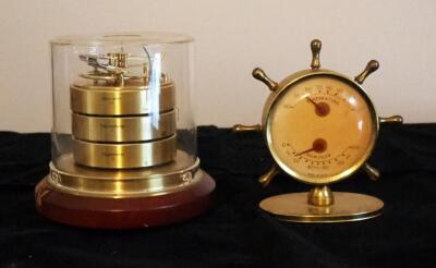 Barometer Thermometer And Hygrometer Under Glass On Stand, And Ship Wheel Thermometer