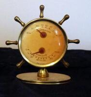 Barometer Thermometer And Hygrometer Under Glass On Stand, And Ship Wheel Thermometer - 3