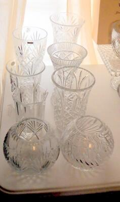 Crystal Vases, Various Sizes Styles, And Designs, Qty 8