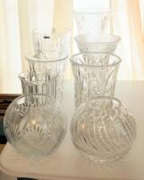 Crystal Vases, Various Sizes Styles, And Designs, Qty 8 - 4