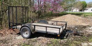 "1998 Park 10' Single Axel Utility Trailer, VIN 13ZSA1010W1004826, 15"" Wheels, 5,000lb Gross Weight, 2"" Ball, Drop Ramp, Click For Details"