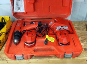 Milwaukee Power Plus 1/2 Cordless Driver, Including Charger, 14.4 Volt Batteries, Bits, And Carrying Case