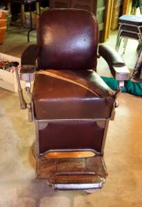 "Vintage Theo-A-Kochs Barber Chair, 42"" x 28"" x 42"", With Straight Razor Strop Leather Sharpening Strap"