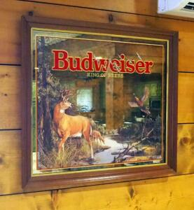 "Framed Budweiser Mirrored Back Hunting Prints, Qty 2, Deer And Pheasant, 30"" x 34"", Waterfowl, 27.5"" x 35.5"""