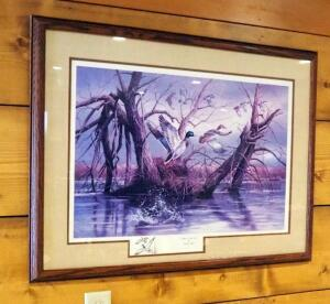 "Framed Matted Under Glass, ""Mallards At Meyer Lake"" Print By Rosemary Millette, Signed And Numbered By Artist, 7/2000, 27.25"" x 36.5"""