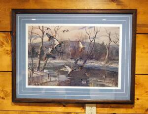 "Framed Matted Under Glass, Harry C. Adamson Duck Print, Signed And Numbered By Artist, 495/850, 26.25"" x 34.25"""