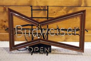 "Vintage Neon Budweiser Open Sign, Powers On, 19"" x 32"""