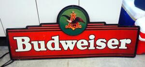 "1994 Metal Budweiser Sign, 25"" x 60"""