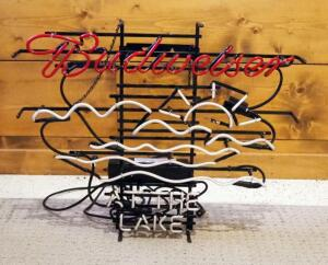 "Electric Neon Budweiser At The Lake Sign, 25"" x 30"", Needs Repair,"