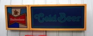 "Vintage Lighted Budweiser Cold Beer Hanging Bar Sign, Powers On, 16.5"" x 52"" Bidder Responsible for Proper Removal"