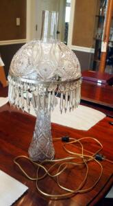 "Fostoria American Electric Lamp, 22"" Tall, Shade Is 11"" Wide, Includes Hurricane And All Prisms"