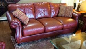"Leather Mart Leather Sofa, 38"" X 86"" X 38"", Includes Decorative Pillows"