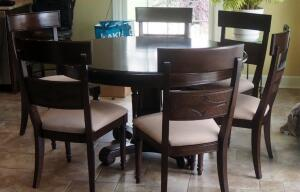 "Round Solid Wood Dining Pedestal Table, 31"" Tall, 53"" Round With 6 Chairs, Seat Height, 18"", And 18"" Leaf"
