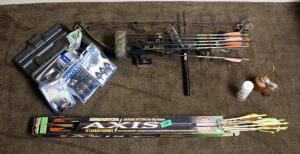 High Country Split Force Left Handed Compound Bow, PSC Sight, Unknown Weight, Includes Free Flight Bow Release, Easton Arrows, Montec Broadheads, And