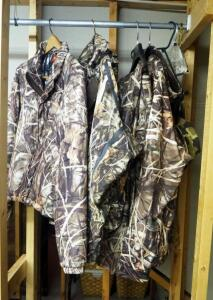 Camouflage Hunting Apparel, Including Columbia, PHG, OmniTech, Jackets, Overalls, And Pullover, Size XL