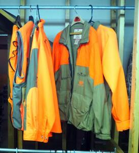 Safety Orange Hunting Apparel, Including Columbia Insulated Jacket, BirdNLite, Carhartt, And Dunn's Hunting Vests And Blouses, Sizes L And XL, Qty 6