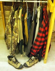 Hunting Apparel, Including Camouflage Blouses, Slacks, Carhartt Pants, Pullovers, And Proline Size 9 Boots