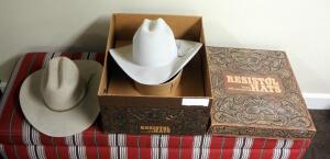 Resistol Self-Comforming Cattleman 65 4X Cowboy Hat, Size 7.5, In Box, And A Bronco Felt Cowboy Hat, Size 7 3/8